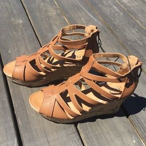NIB Brown wedge sandals size 10